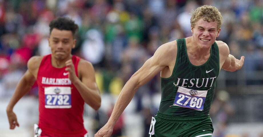 Matthew Boling of Houston Strake Jesuit competes in the 6A boys 100-meter dash during the UIL State Track & Field Championships at Mike A. Myers Stadium, Saturday, May, 11, 2019, in Austin. Photo: Jason Fochtman/Staff Photographer
