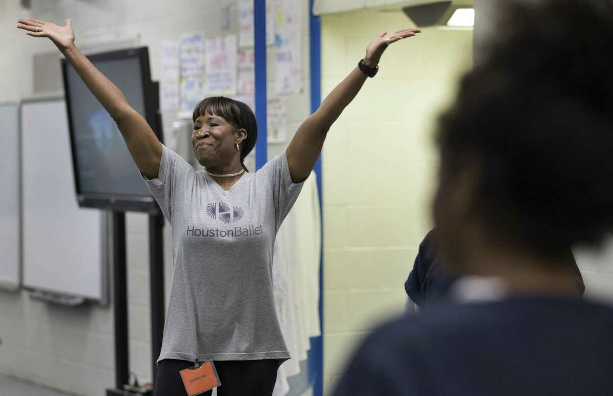 Houston Ballet Education and and Community Engagement Program Manager Program Manager Lauren Anderson engages with the Harris County Juvenile Detention Center girls to warm up the relationship during a class on Friday, April 5, 2019, in Houston. The center has been increasing art and culture programs for the teenagers.