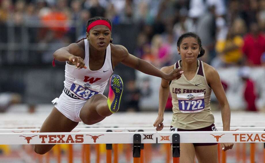 Alexandra Webster of The Woodlands competes in the 6A girls 100-meter hurdles during the UIL State Track & Field Championships at Mike A. Myers Stadium, Saturday, May, 11, 2019, in Austin. Photo: Jason Fochtman, Houston Chronicle / Staff Photographer / © 2019 Houston Chronicle