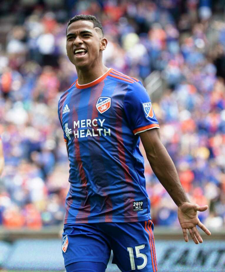 FC Cincinnati midfielder Allan Cruz (15) celebrates after scoring a goal against the Montreal Impact during an MLS soccer match, Saturday, May 11, 2019, in Cincinnati, Ohio. (Albert Cesare/The Cincinnati Enquirer via AP) Photo: Albert Cesare / Cincinnati Enquirer – 2018