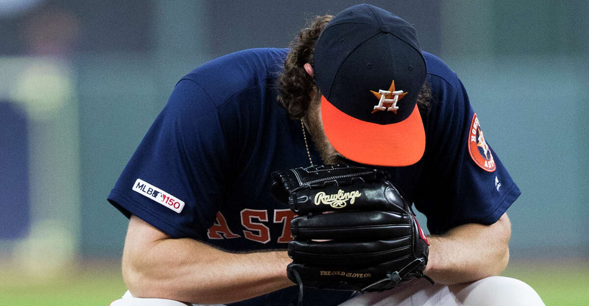 Houston Astros starting pitcher Gerrit Cole (45) gets ready for his first pitch against the Texas Rangers at Minute Maid Park on Saturday, May 11, 2019, in Houston.
