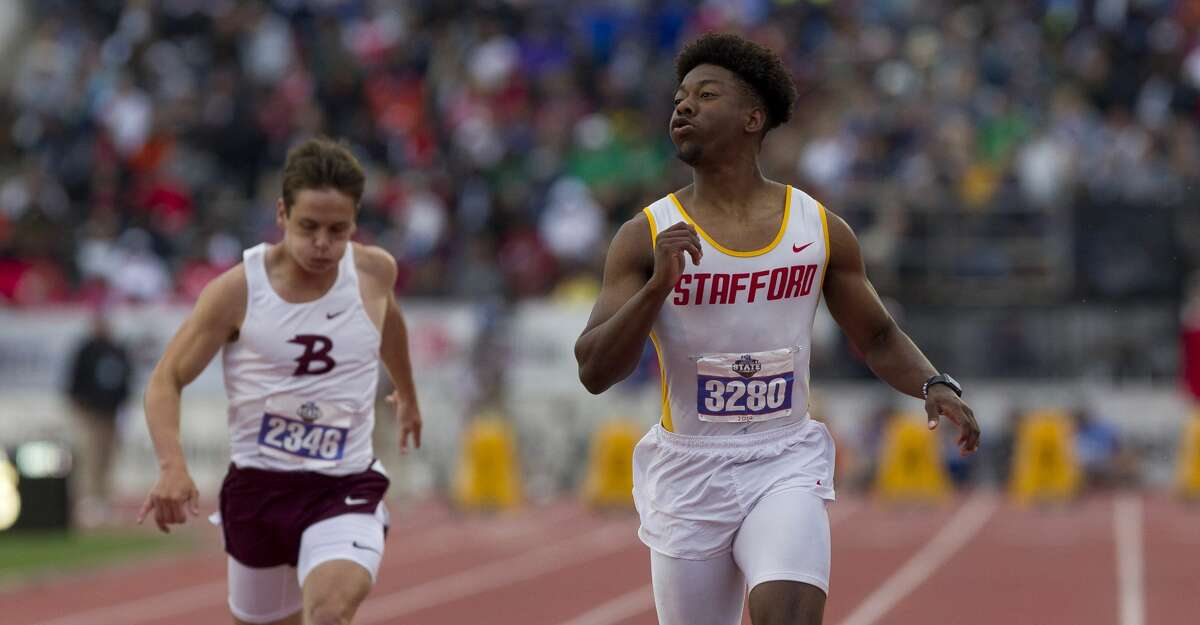 Ryan Martin of Stafford competes in the 4A boys 100-meter dash during the UIL State Track & Field Championships at Mike A. Myers Stadium, Saturday, May, 11, 2019, in Austin.