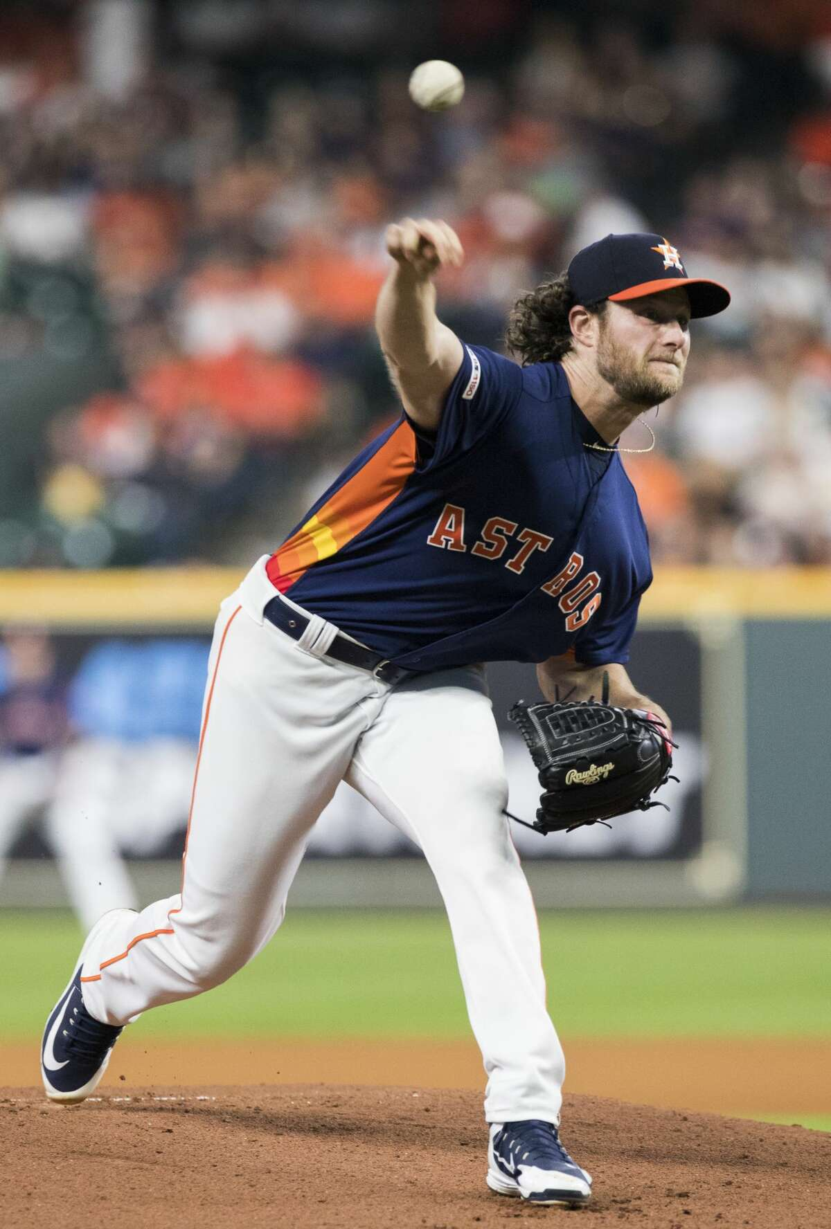 Houston Astros starting pitcher Gerrit Cole (45) opens the game pitching against the Texas Rangers at the Minute Maid Park on Saturday, May 11, 2019, in Houston.