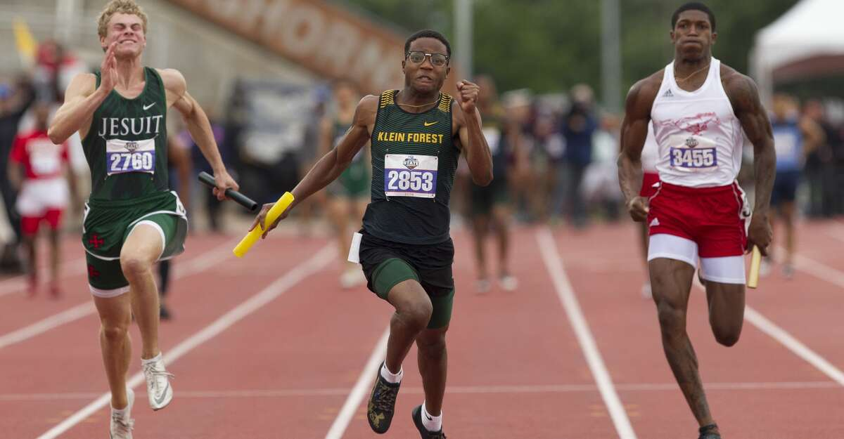 Klein Forest competes in the 6A boys 400-meter relay during the UIL State Track & Field Championships at Mike A. Myers Stadium, Saturday, May, 11, 2019, in Austin.