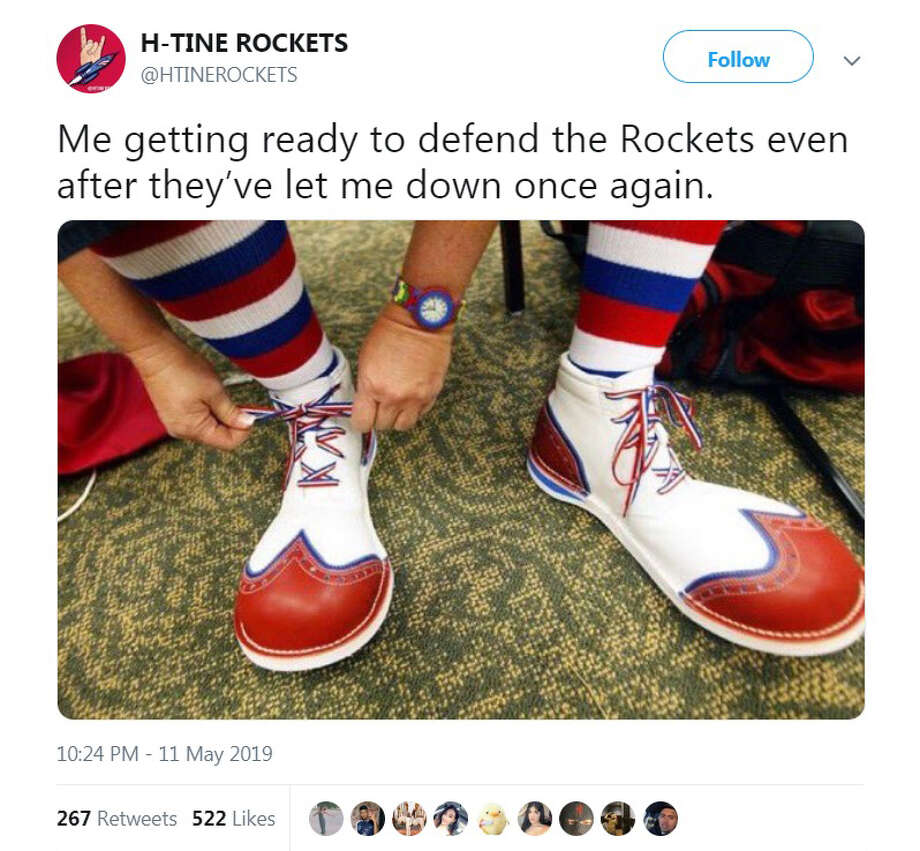 PHOTOS: Best memes and tweets after the Rockets' season came to an end this weekend The Internet was not a nice place to be for Rockets fans after their team was eliminated by the Golden State Warriors again this weekend. Browse through the photos above for a look at the best memes and Tweets after the Rockets season ended in heartbreaking fashion ... Photo: Twitter.com/HTineRockets