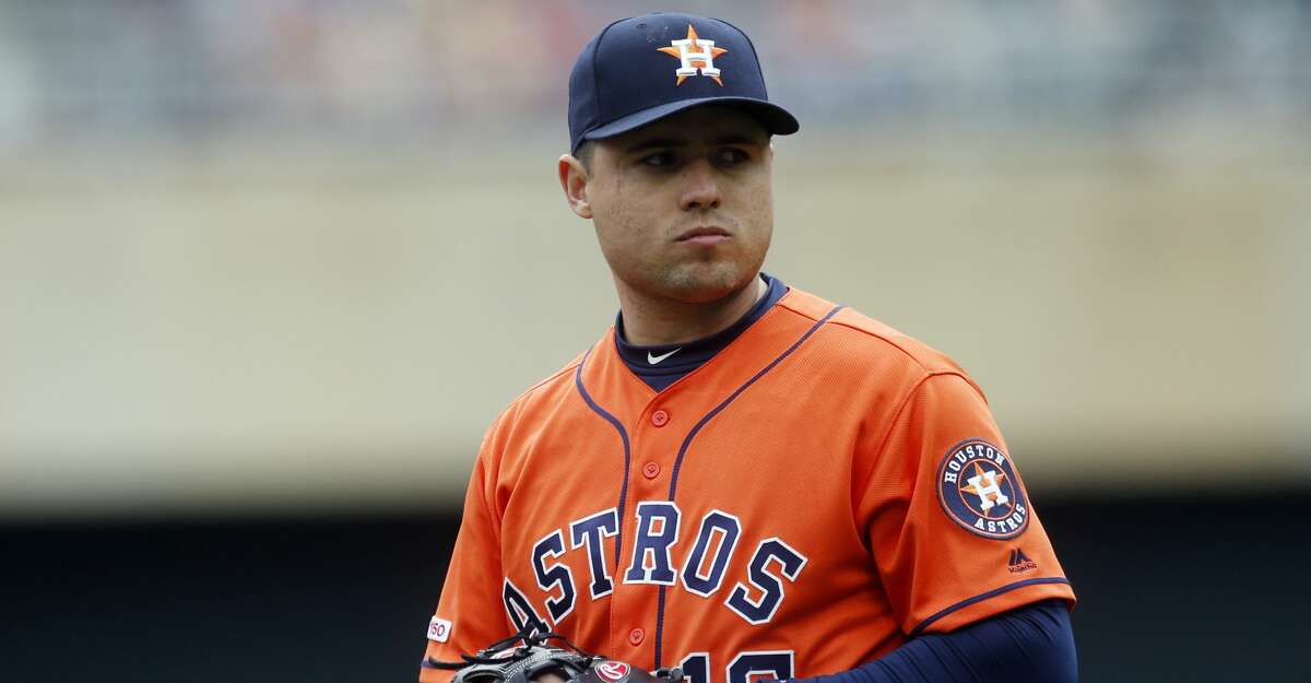 Houston Astros' Aledmys Diaz plays third base against the Minnesota Twins in a baseball game Thursday, May 2, 2019, in Minneapolis. (AP Photo/Jim Mone)