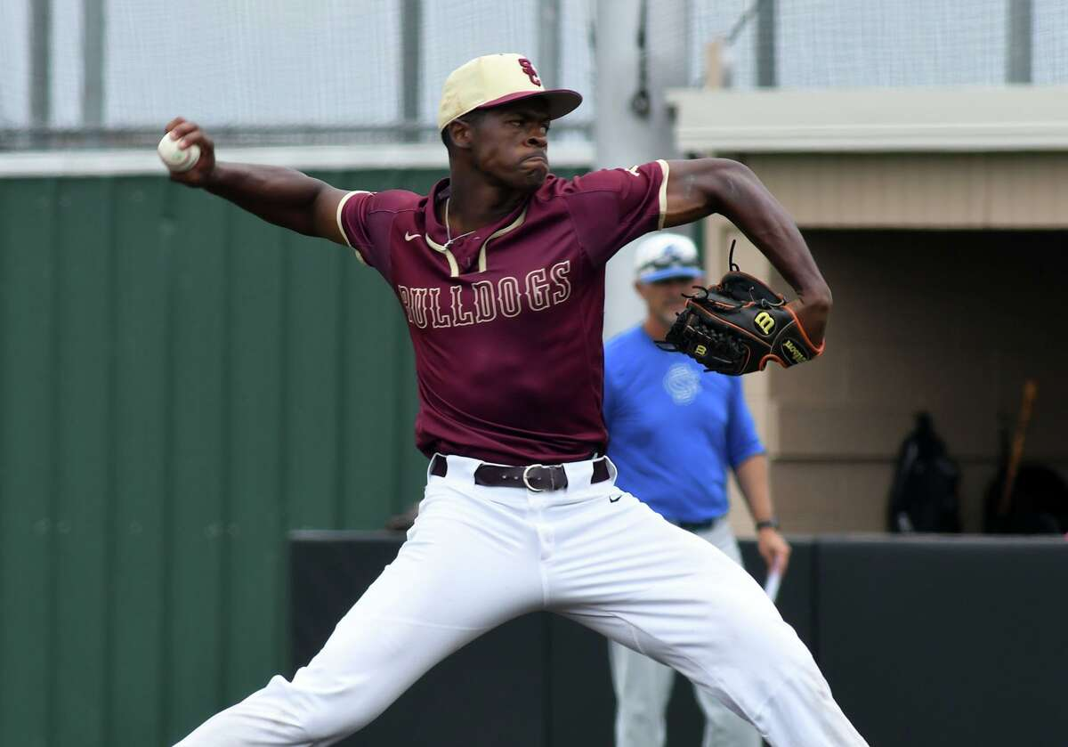 Summer Creek senior pitcher Andre Duplantier II works to a Clear Springs hitter in the top of the 5th inning of Game One of their Region II-6A Area Baseball Playoff series at Humble High School on May 10, 2019.