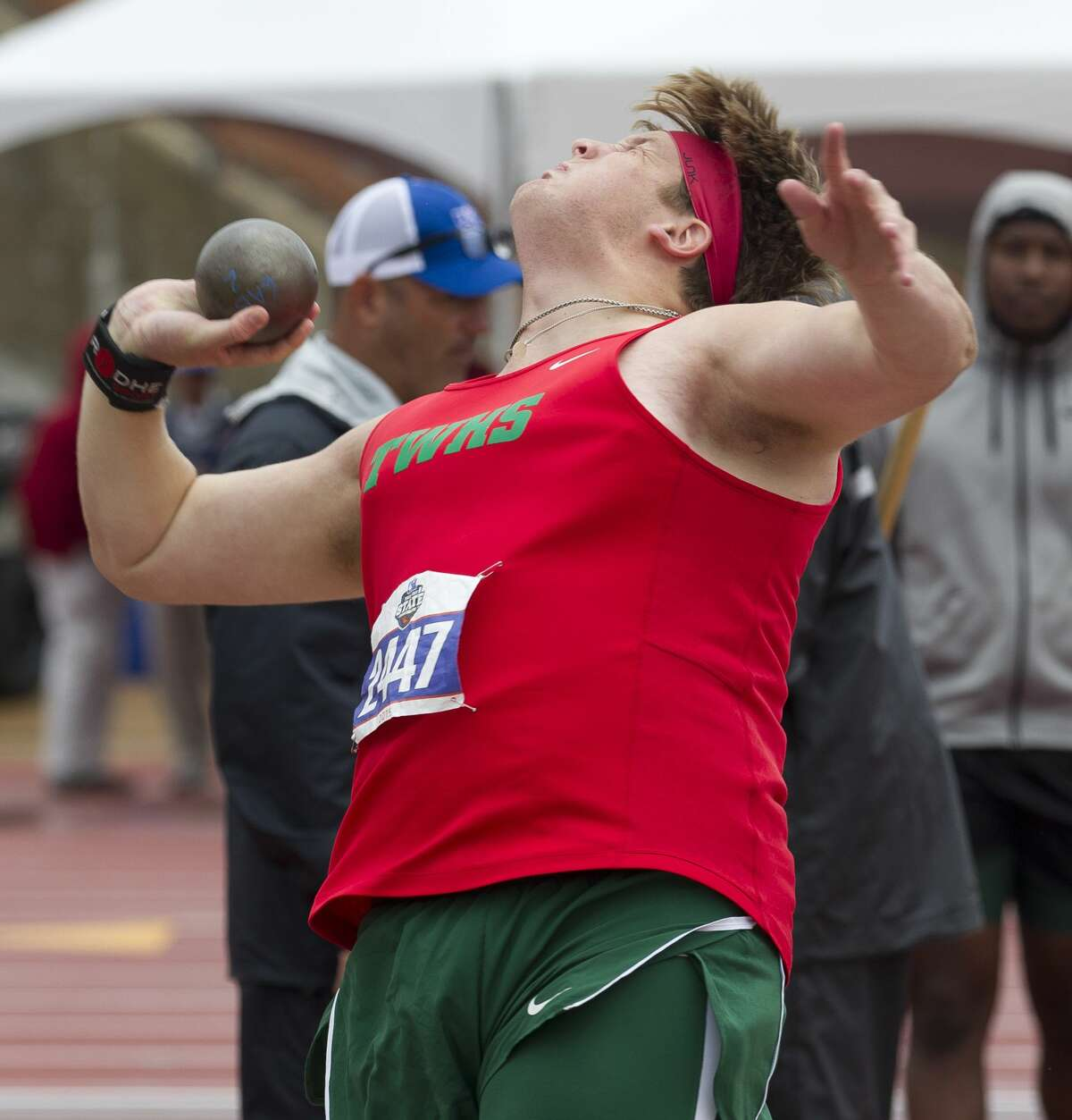 Patrick Piperi of The Woodlands competes in the 6A boys shot put during the UIL State Track & Field Championships at Mike A. Myers Stadium, Saturday, May, 11, 2019, in Austin.