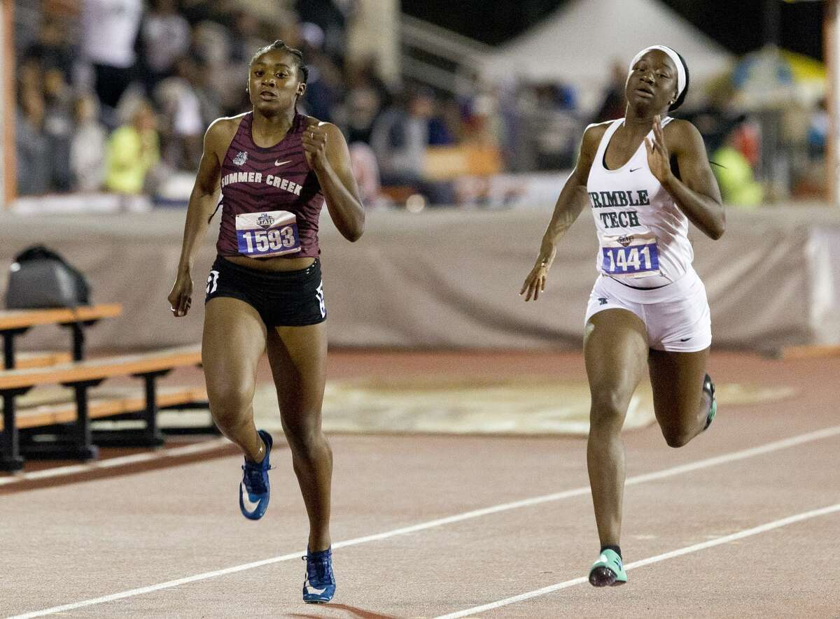 Dynasty McClennon of Summer Creek competes in the 6A girls 200-meter dash during the UIL State Track & Field Championships at Mike A. Myers Stadium, Saturday, May, 11, 2019, in Austin.