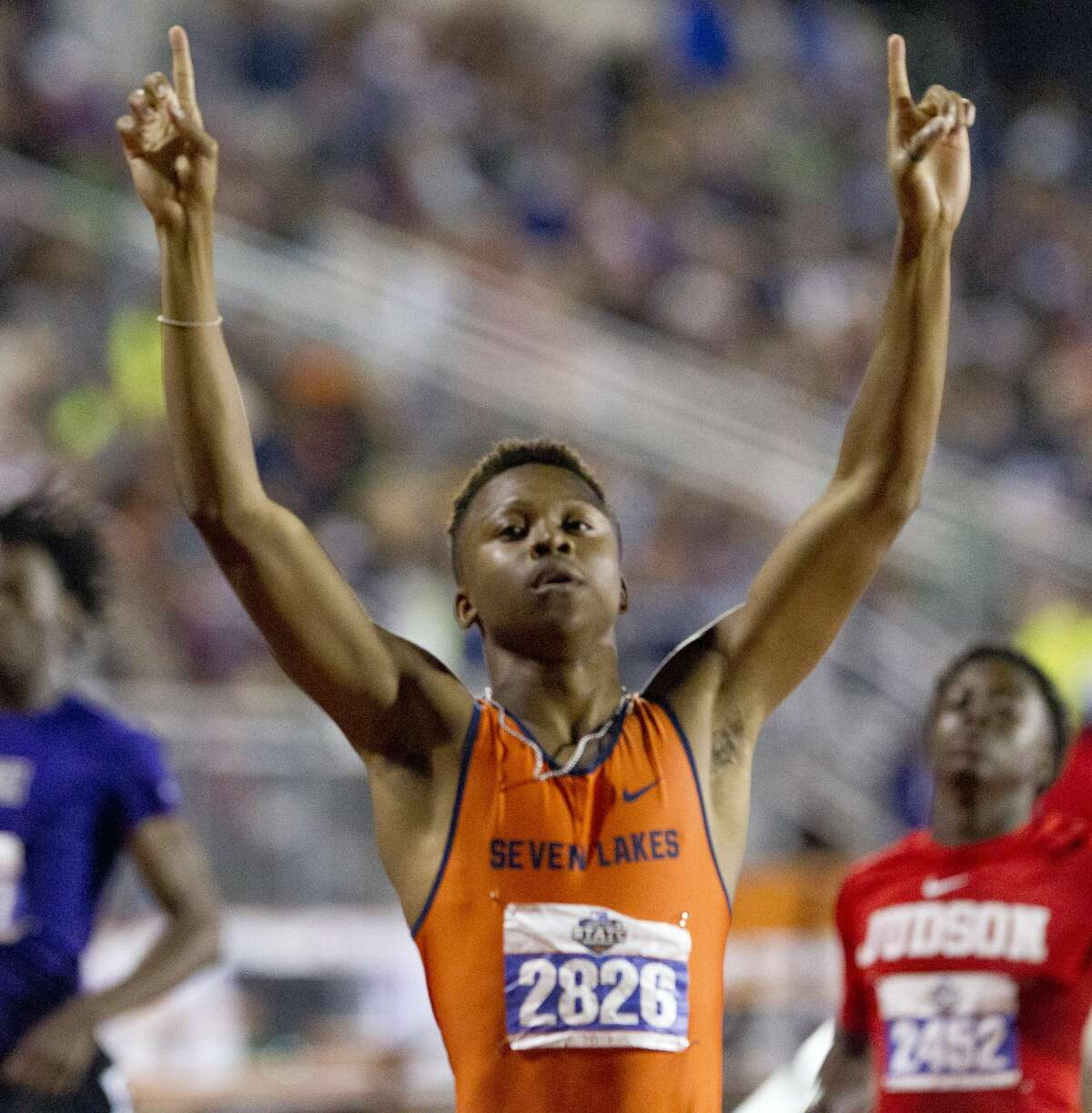 Lance Nath Broome of Katy Seven Lakes reacts after winning the 6A boys 200-meter dash during the UIL State Track & Field Championships at Mike A. Myers Stadium, Saturday, May, 11, 2019, in Austin.