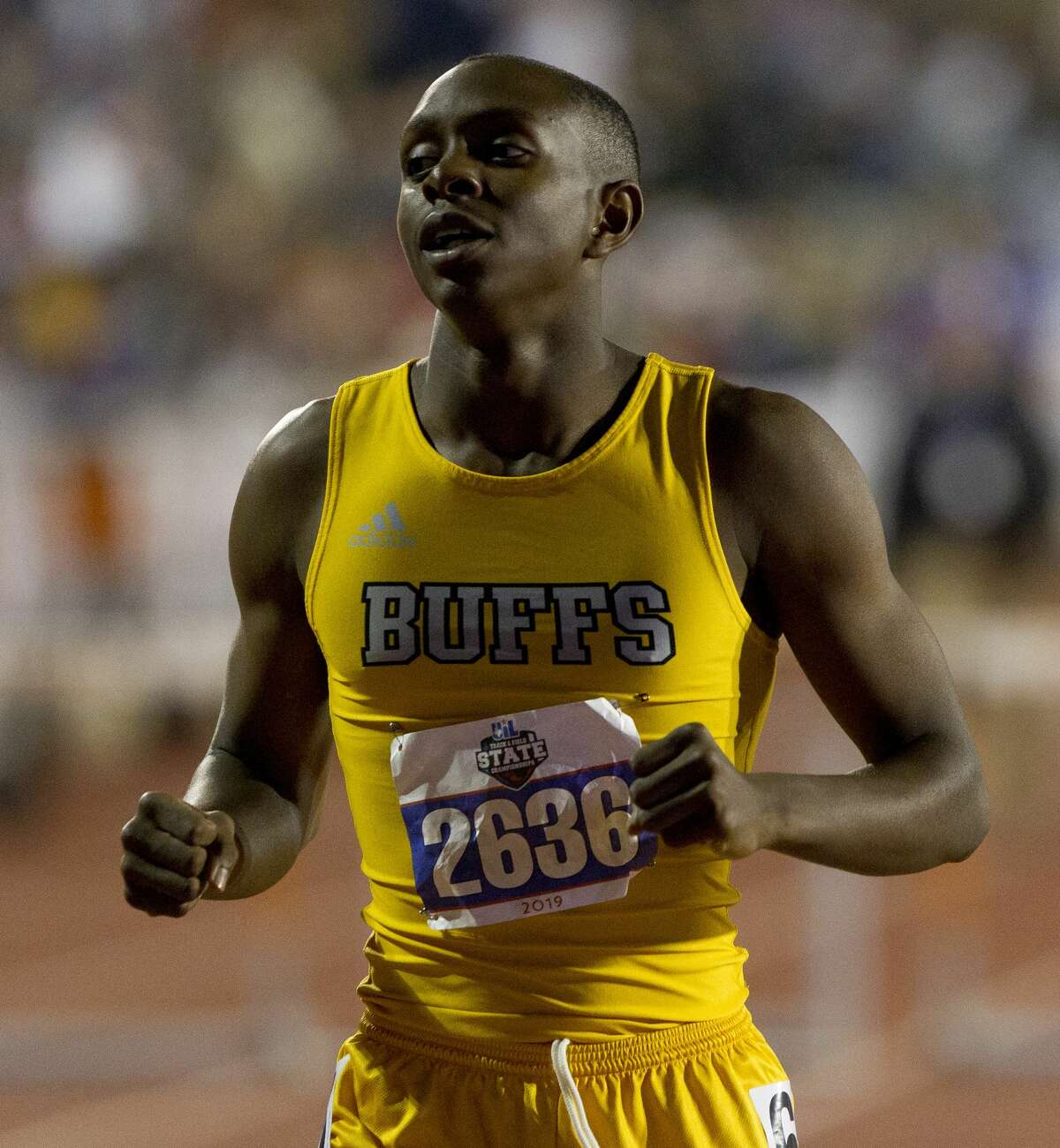 Matthias Petterway Fort Bend Marshall reacts after competing in the 5A boys 300-meter hurdles during the UIL State Track & Field Championships at Mike A. Myers Stadium, Friday, May, 10, 2019, in Austin.
