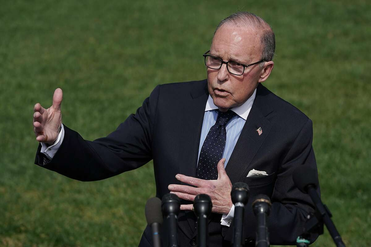 WASHINGTON, DC - MAY 03: National Economic Council Director Larry Kudlow talks to reporters outside the White House May 03, 2019 in Washington, DC. Kudlow answered questions about Friday's positive jobs numbers, the Federal Reserve Bank and the ongoing trade negotiations with China. (Photo by Chip Somodevilla/Getty Images)