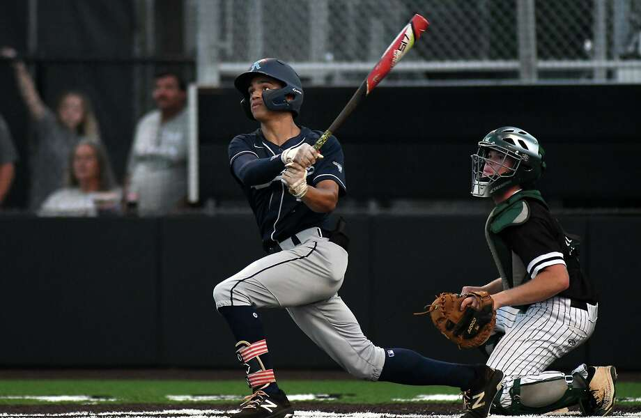 Kingwood pitcher Masyn Winn, left, and Clear Falls senior catcher Brooks Montgomery follow Winn's homerun to leftfield in the bottom of the third inning of Game One of their best of three series at Humble High School on May 10, 2019. (Photo by Jerry Baker) Photo: Jerry Baker, Houston Chronicle / Contributor / Houston Chronicle