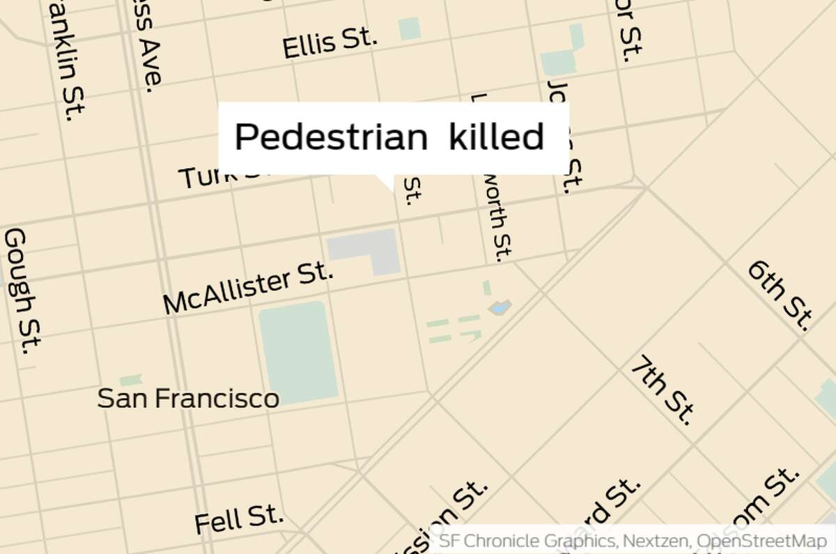 A man was struck by a vehicle around 7:30 p.m. at the corner of Golden Gate Avenue and Hyde Street, police said.