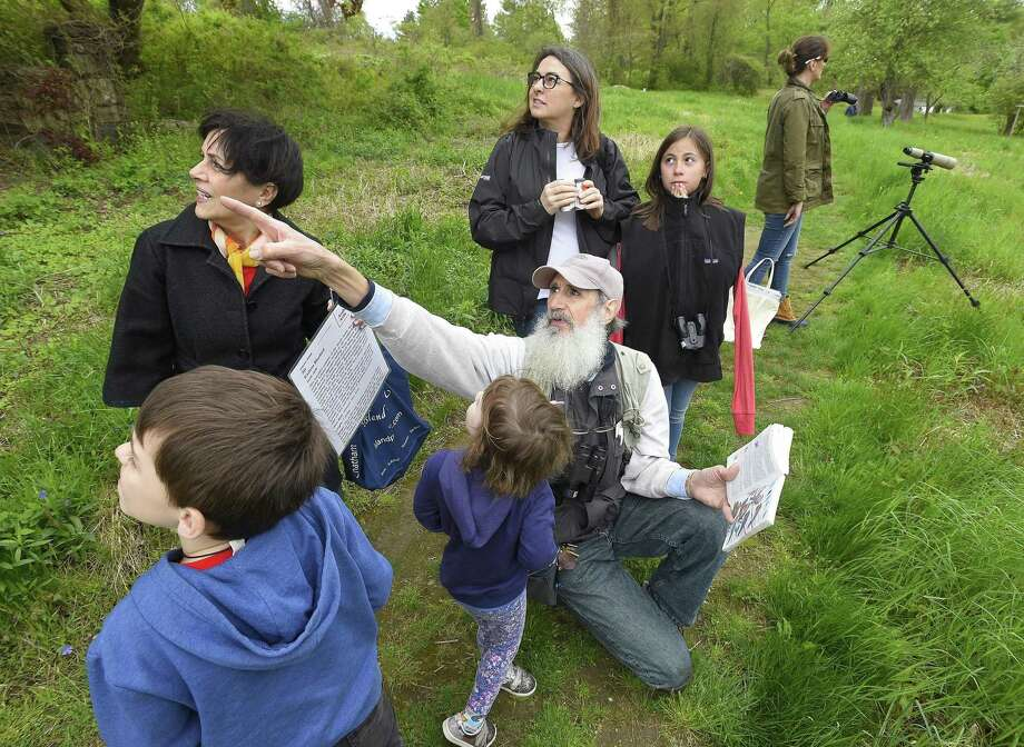 Ted Gilman, an education specialist and senior naturalist with Audubon Greenwich, points to an area where migrating birds have built nests during Audubon Greenwich observance of World Migratory Bird Day on May 11, 2019 in Greenwich, Connecticut. Visitors took in a celebratory bird walk, breakfast and live raptor show by Christine's Critters. Skip The Straw Greenwich joined in to reminds residents that plastic debris poses a risk of both ingestion and entanglement, which can lead to illness, entrapment, and serious injury, for migratory birds. Photo: Matthew Brown / Hearst Connecticut Media / Stamford Advocate