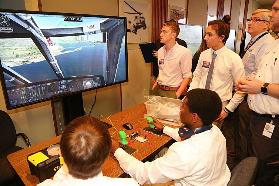 Nearly 100 high school students competed in the Sikorsky STEM Challenge to design helicopter cockpits of the future. Winning schools, Joel Barlow High School and Laurelton Hal, each received a $10,000 in-kind donation of Lockheed Martin's flagship flight simulation software Prepar3D. Photo: Contributed Photo / Contributed / The News-Times Contributed