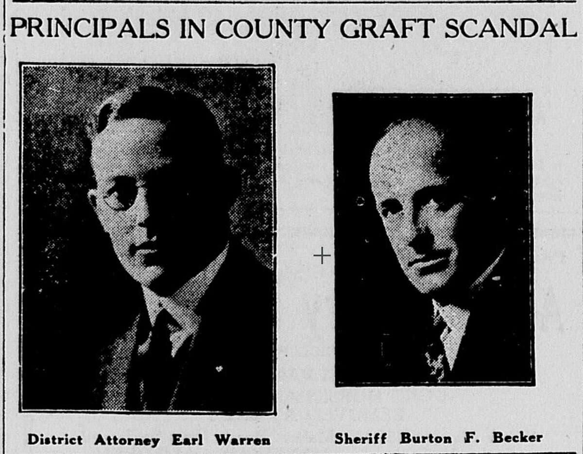 Portraits of then-Alameda County District Attorney Earl Warren and Alameda County Sheriff Burton F. Becker in the late 1920s. Warren launched a years-long investigation of Becker, a member of the Ku Klux Klan, for his illegal activities during Prohibition. Becker was eventually convicted and removed from public office.