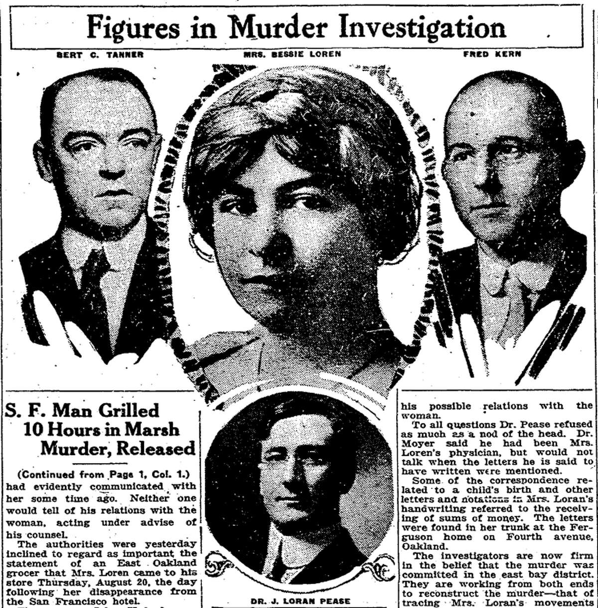 A Chronicle photo illustration showing some players in the Bessie Ferguson case. To left and right of Ferguson are two hotel workers who saw her before her death. Below is Dr. J. Loran Pease, who was allegedly having an affair with her.
