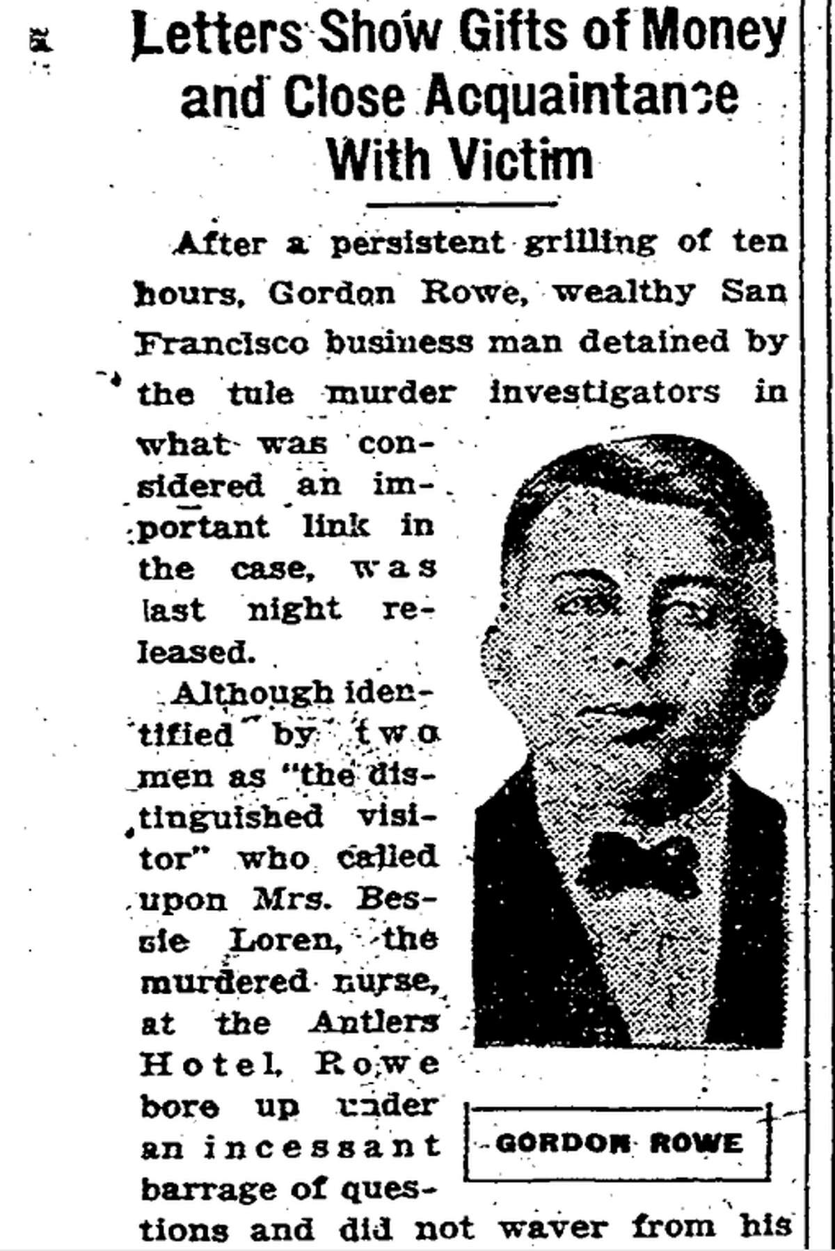 Gordon Rowe, a San Francisco accountant, who was suspected in the disappearance of Oakland nurse Bessie Ferguson