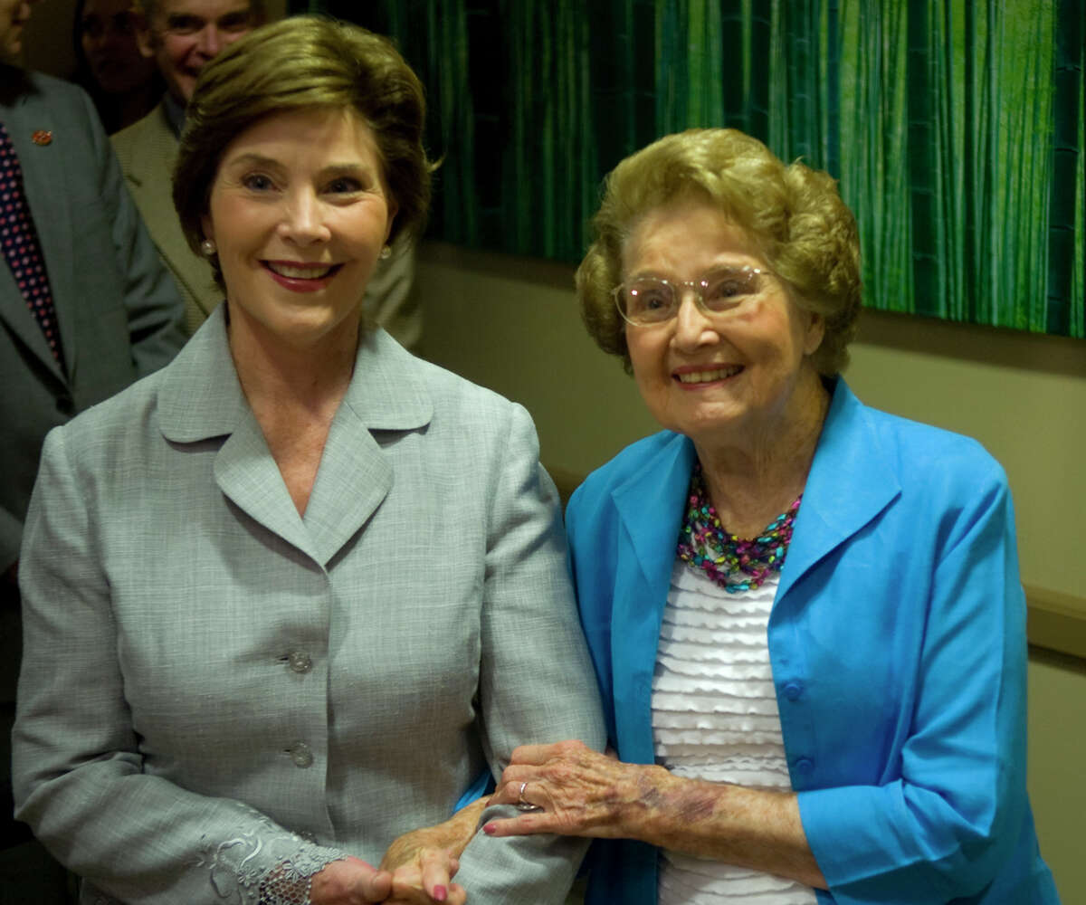 Laura Bush takes a moment to pose with her mother, Jenna Welch, Tuesday following the press conference for the Jenna Welch Women's Center. Photo by Tim Fischer/Midland Reporter-Telegram