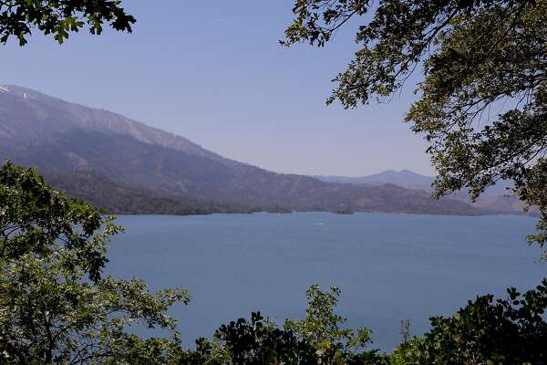 The view of Whiskeytown Lake as it reopens for the summer season after last year's 230,000-acre Carr Fire