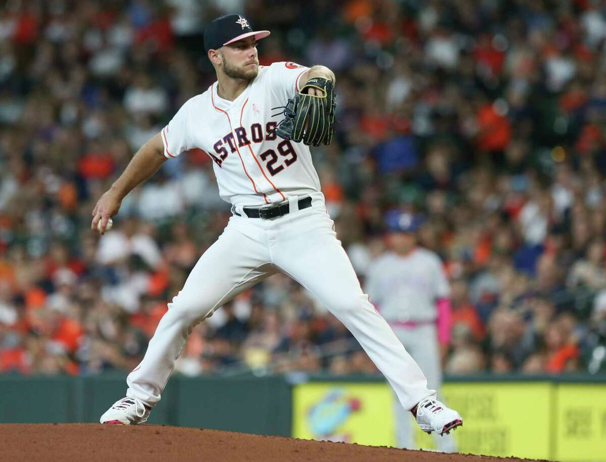 Houston Astros starting pitcher Corbin Martin (29) pitches during the top second inning against the Texas Rangers at Minute Maid Park on Sunday, May 12, 2019, in Houston.