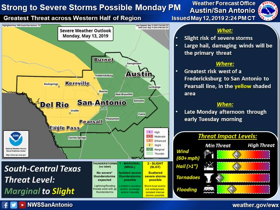 Scattered severe storms are forecast west of Fredericksburg, San Antonio and Pearsall from late Monday, May 13, to Tuesday morning. Photo: National Weather Service