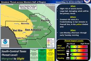 Scattered severe storms are forecast west of Fredericksburg, San Antonio and Pearsall from late Monday, May 13, to Tuesday morning.