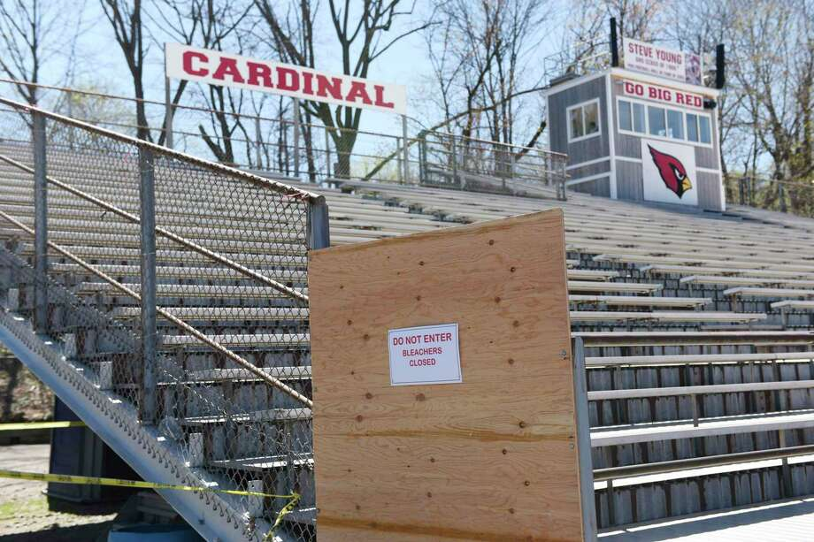 The Cardinal Stadium home bleachers are closed during the boy's lacrosse game at Greenwich High School in Greenwich, Conn. Thursday, April 16, 2019. The home-side bleachers are closed pending repair to bring them up to current code or replace them, Superintendent of Schools Ralph Mayo announced Monday evening. Photo: Tyler Sizemore / Hearst Connecticut Media / Greenwich Time
