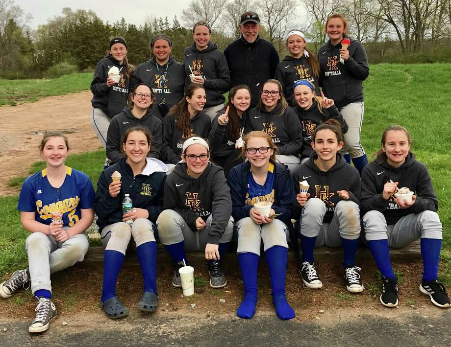 H-K softball coach Jeff Talbott, back row third from right, won his 300th softball game on Friday. Photo: Submitted