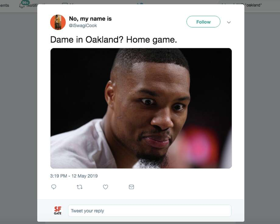 Basketball fans expressed their excitement about Damian Lillard and his Portland Trailblazers coming to play the Golden State Warriors in Oakland for the Western Conference Finals. Photo: Screenshot Via Twitter