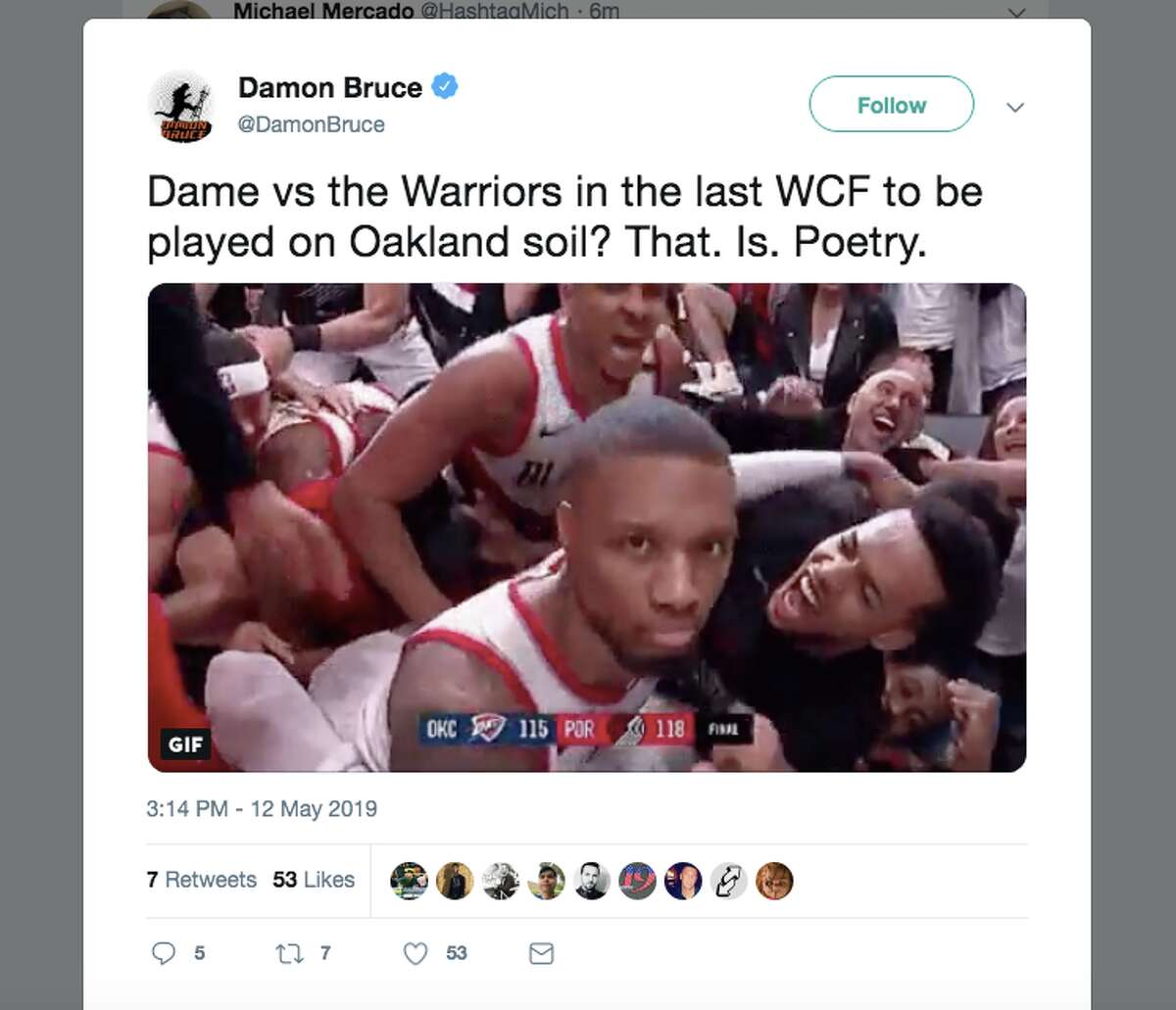 Basketball fans expressed their excitement about Damian Lillard and his Portland Trailblazers coming to play the Golden State Warriors in Oakland for the Western Conference Finals.