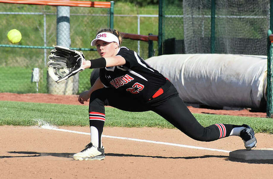 Calhoun second baseman Ashleigh Presley takes the throw at first for an out on a sacrifice bunt during a Warriors win at Edwardsville on April 22. The 26-4 Warriors are host to their own Class 1A regional this week. Photo: Matt Kamp / Hearst Illinois