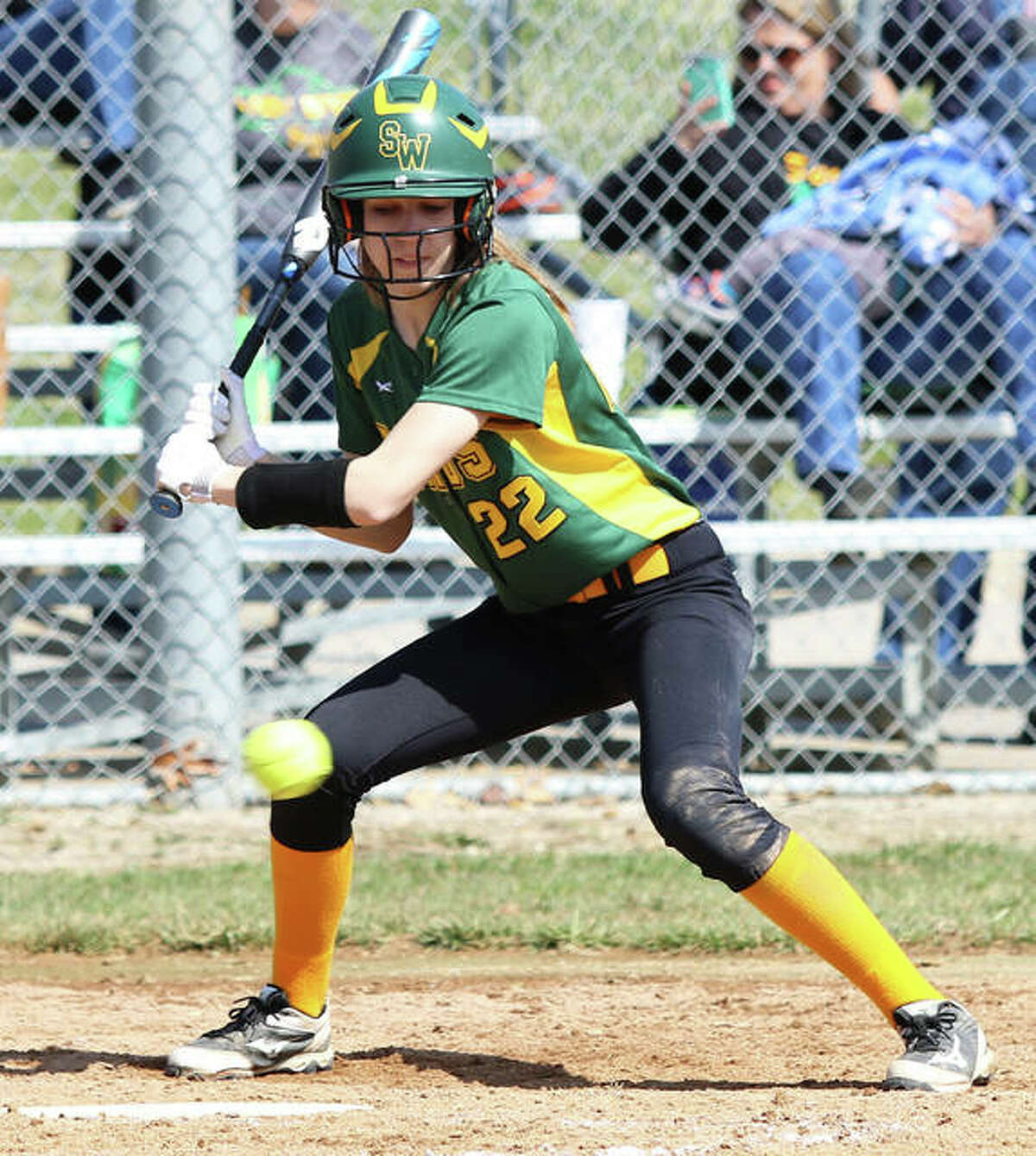 Southwestern's Mayci Wilderman takes pitch off the plate for a ball during a Piasa Birds' win at Alton High in Godfrey. The 20-2 Birds are the top seed at the Southwestern Class 2A Regional.
