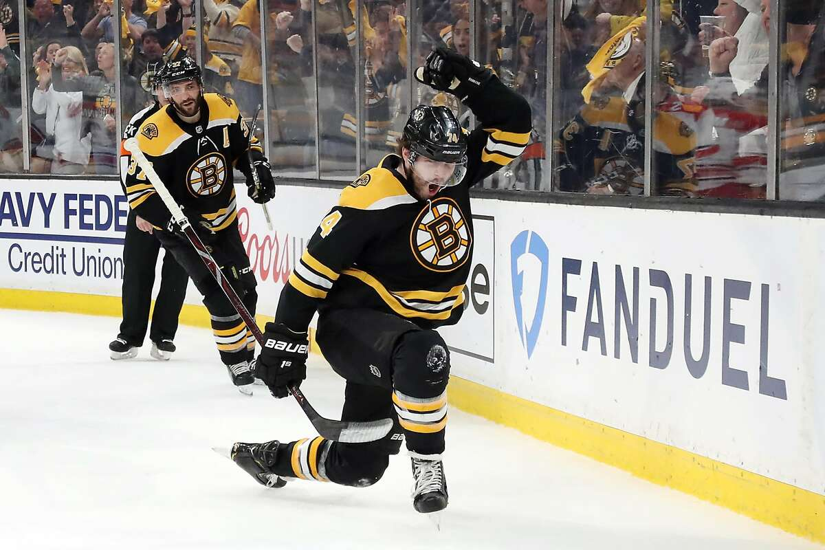 BOSTON, MASSACHUSETTS - MAY 12: Jake DeBrusk #74 of the Boston Bruins celebrates scoring a first period goal against the Carolina Hurricanes in Game Two of the Eastern Conference Final during the 2019 NHL Stanley Cup Playoffs at TD Garden on May 12, 2019 in Boston, Massachusetts. (Photo by Bruce Bennett/Getty Images)