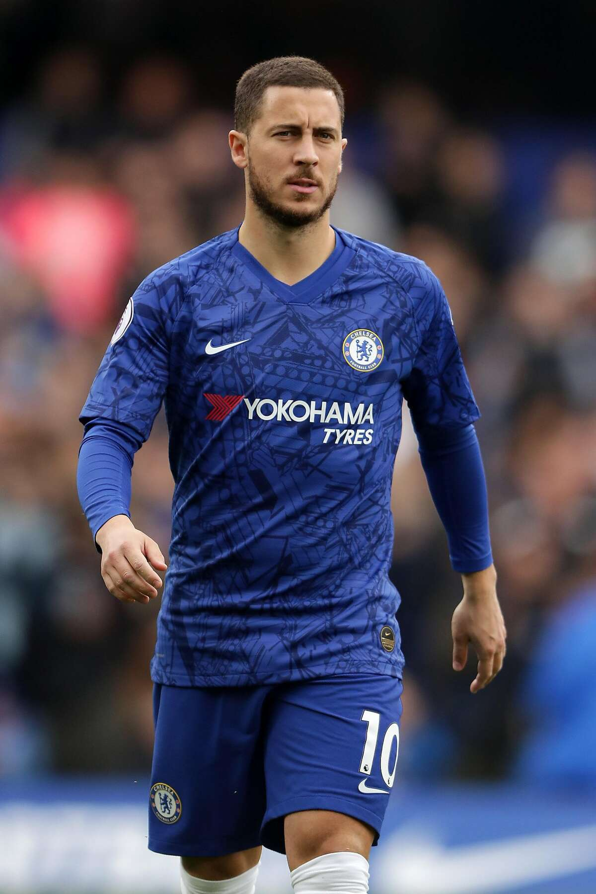 LONDON, ENGLAND - MAY 05: Eden Hazard of Chelsea looks on prior to the Premier League match between Chelsea FC and Watford FC at Stamford Bridge on May 05, 2019 in London, United Kingdom. (Photo by Richard Heathcote/Getty Images)