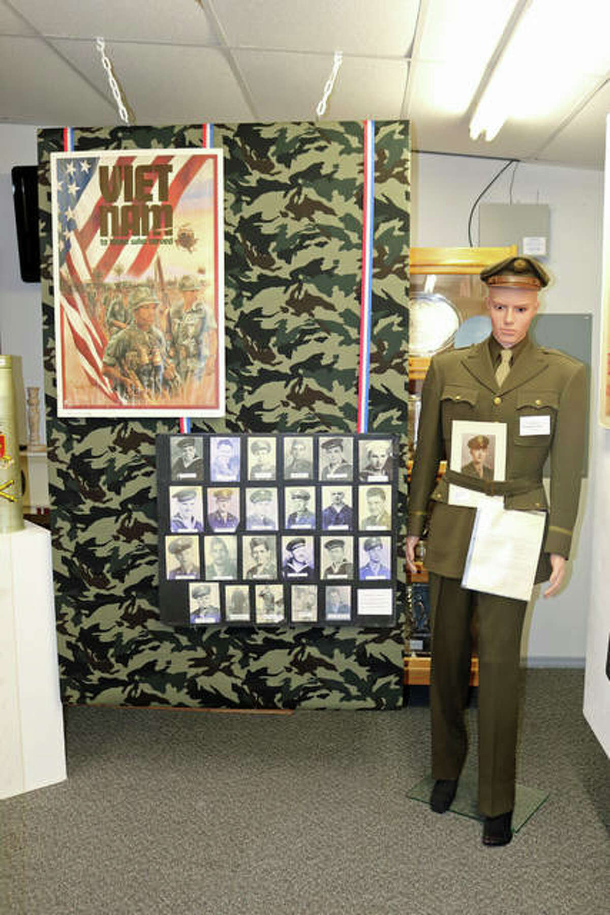 Photos hightlight this year's veterans exhibit at the Wood River Museum and Visitors Center. It includes a map that invites veterans or family members to place a pin in a location identifying where vets had been stationed and or engaged in combat.