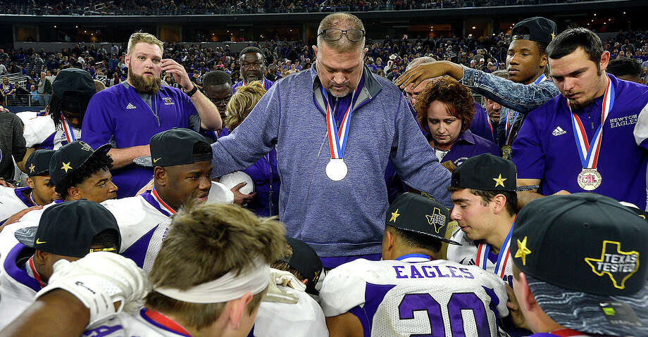 Newton's head coach W.T. Johnston gathers with his team after defeating Canadian for a state title in the Class 3A Div. II game at AT&T Stadium. Photo taken Thursday, December 20, 2018 Kim Brent/The Enterprise Photo: Kim Brent/The Enterprise