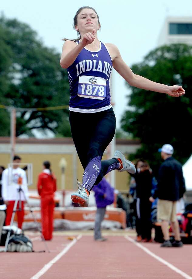 Port Neches-Groves' Jacie Droddy competes in the 5A long jump during the track and field state championships in Austin. Arline finished fourth in the finals. Photo taken Friday, May 10, 2019 Kim Brent/The Enterprise Photo: Kim Brent/The Enterprise