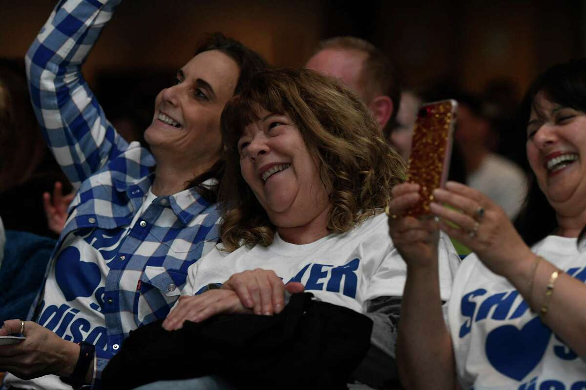 VanDenburg's sister and aunt watch the 17-year-old sing in American Idol during a viewing party at Shaker High School on Sunday, May 12, 2019 in Latham, N.Y. (Jenn March, Special to the Times Union)