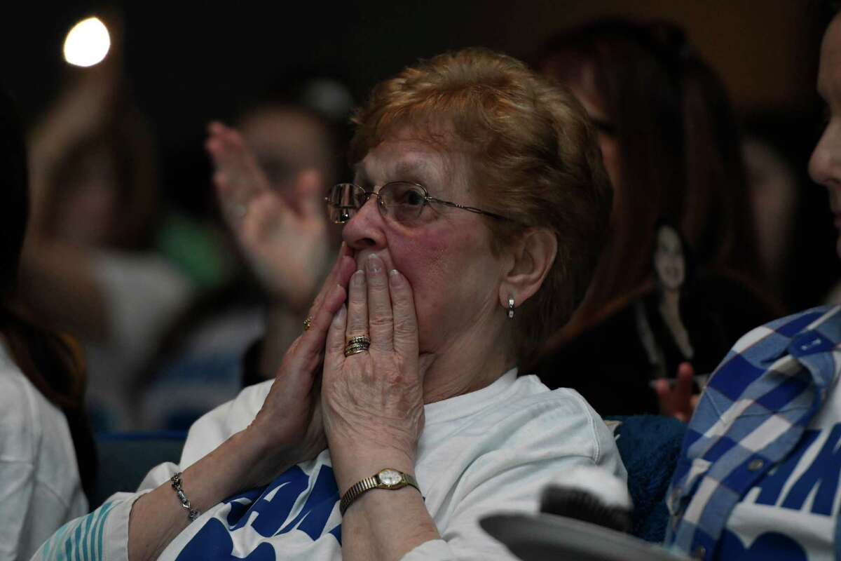 Norine Nastasi, grandmother of American Idol finalist Madison VanDenburg watches her granddaughter sing on the show during a viewing party at Shaker High School on Sunday, May 12, 2019 in Latham, N.Y. (Jenn March, Special to the Times Union)