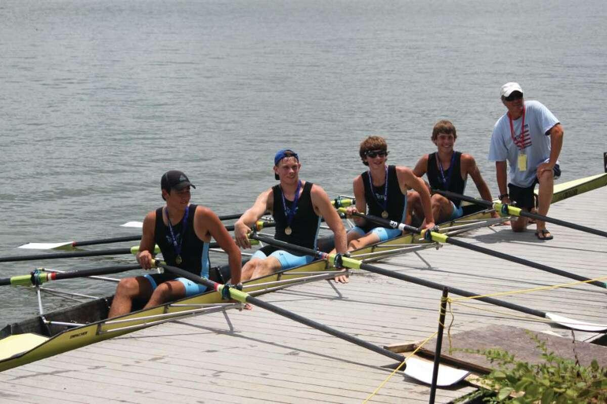 The gold-medal-winning A quad, from left: Geoffrey Cloud, David Kircher, Tucker Klutey, Graham Mink and coach Yan Vengerovsky.