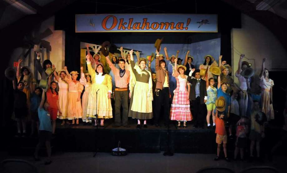 "The cast of ""Oklahoma!"" rehearses at New Fairfield's Congregational Church on Tuesday July 27, 2010. Photo: Lisa Weir / The News-Times Freelance"