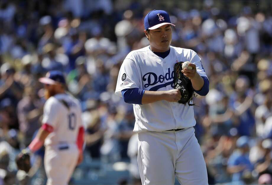 Dodgers left-hander Hyun-Jin Ryu didn't allow a hit until Gerardo Parra's one-out double in the eighth. Photo: Marcio Jose Sanchez / Associated Press