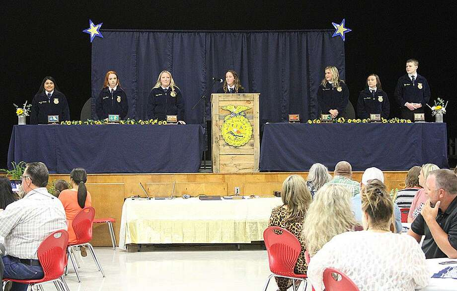 The 2018-29 Coldspring FFA officers kicked off the Chapter Awards Banquet with a warm welcome to family, faculty, staff and administrators. Photo: Cassie Gregory / COCISD