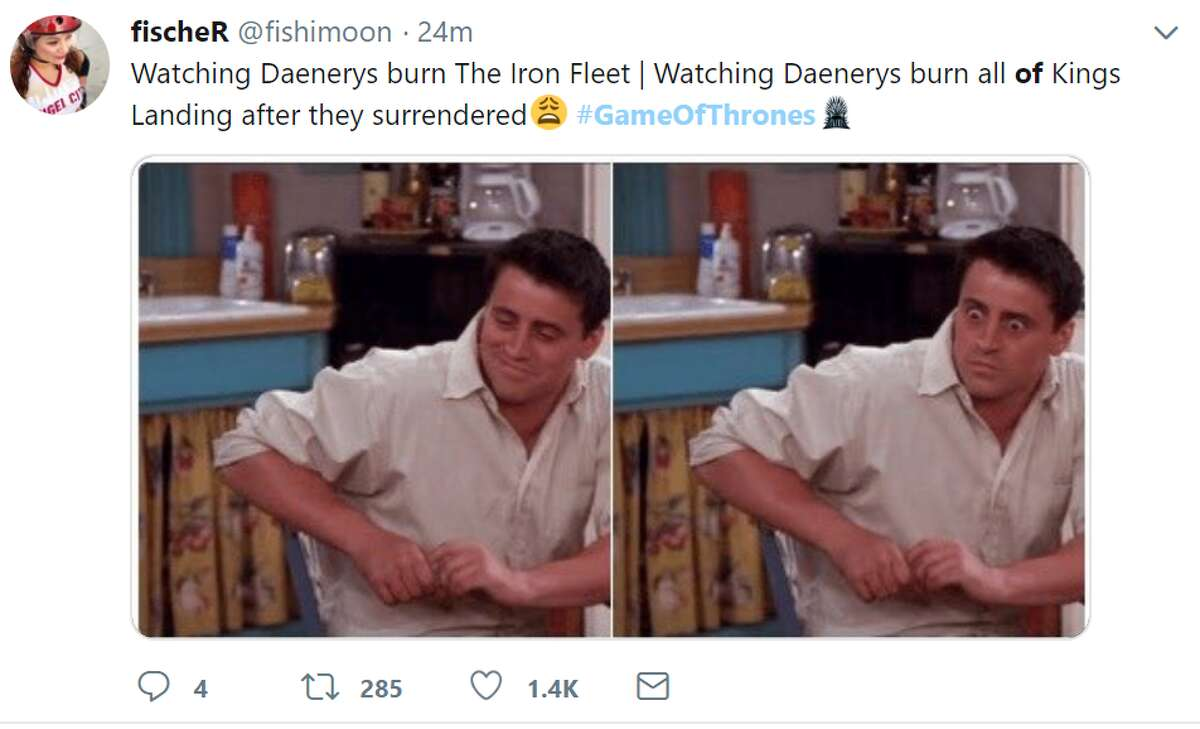 Watching Daenerys burn The Iron Fleet | Watching Daenerys burn all of Kings Landing after they surrendered Twitter account: @fishimoon