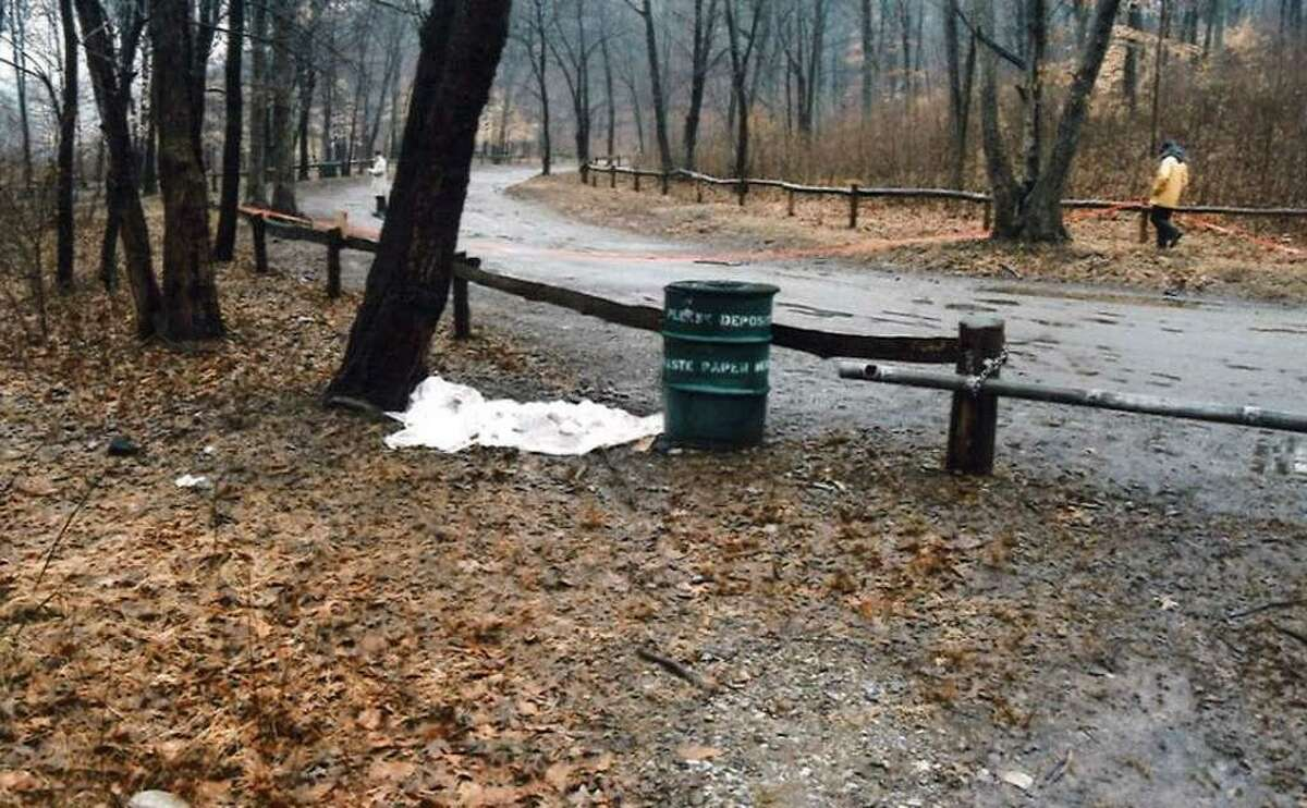 Crime scene photos show the site where a murdered newborn baby was found on March 14, 1986, in Lake Mohegan in Fairfield, Conn.