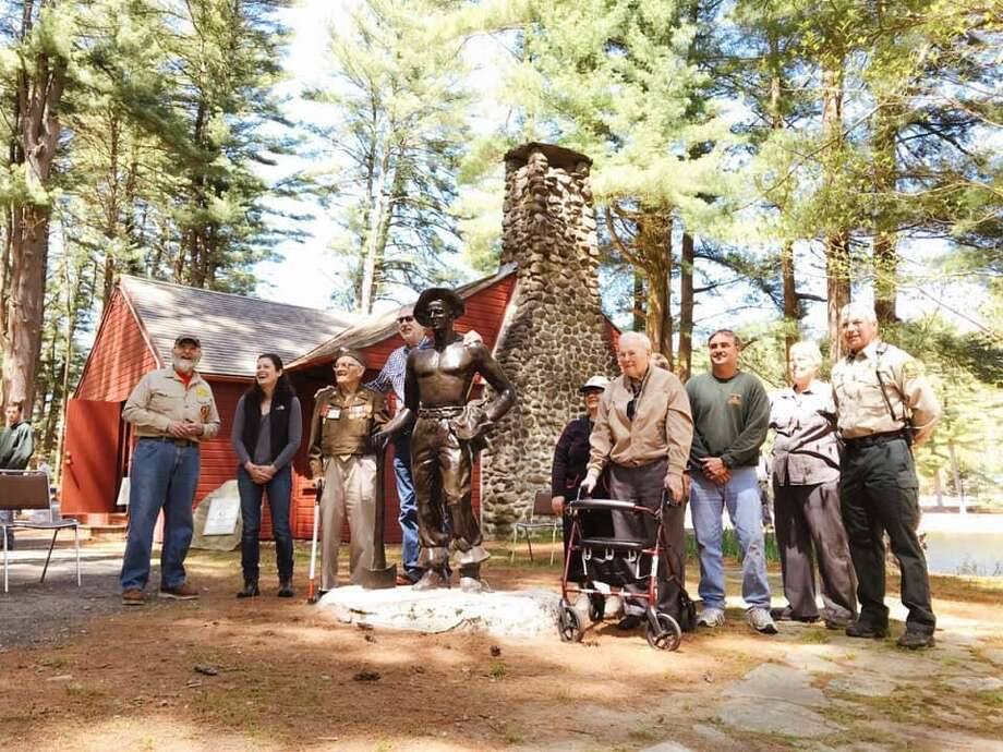 A statue honoring Connecticut's Civilian Conservation Corps was dedicated at Chatfield Hollow State Park on Saturday, May 11, 2019. Among those in attendance were two survivors of the CCC - Harold Oehler, 102, and Mike Caruso, 96. Before it was a state park, Chatfield Hollow was known Camp Roosevelt, the first CCC camp in Connecticut. Photo: Friends Of Chatfield State Park Photo