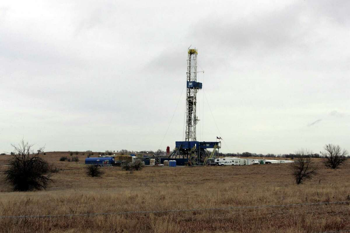 A natural gas drilling site west of Ponder, Texas is shown surrounded by grassy scrubland on Jan. 3, 2006. The Barnett Shale of North Texas has now gone more than a month without any oil &gas company filing for a horizontal drilling permit in the natural gas-rich region.