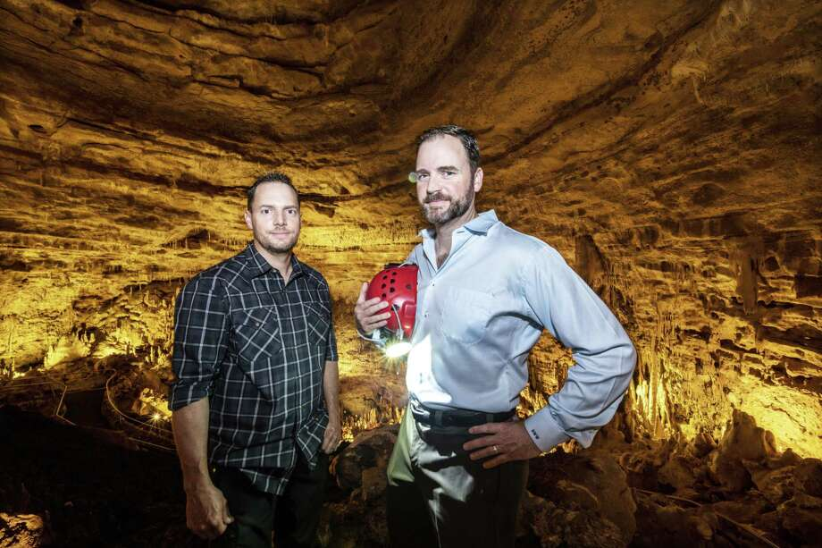 Natural Bridge Caverns vice resident Travis Wuest, left, and president and CEO Brad Weust, were part of an expedition team that found a new 600-foot-long passage off the Dome Pit. Natural Bridge Caverns suspended operations through the end of March amid the coronavirus pandemic. Photo: Carlos Javier Sanchez /Contributor / Carlos Javier Sanchez
